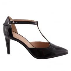 Susst GLENDA T-Strap Black Patent Court Shoe