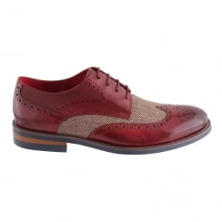 Morgan&Co Burgundy Leather&Tweed Brogue Mens Shoes