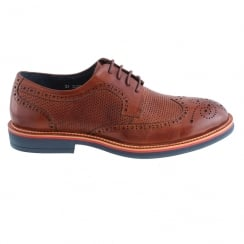 Morgan&Co Tan Leather Brogue Mens Lace Up Shoes