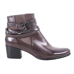 Regarde Le Ciel Womens Brown Leather Mid Heeled Ankle Boots