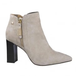 Caprice Sand Nubuck Pointed Block Heel Ankle Boots