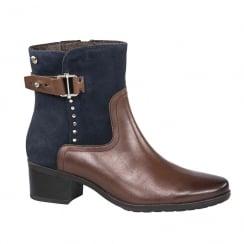 Caprice Cognac/Ocean Leather Block Heel Ankle Boots