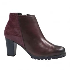 Caprice Bordeaux Leather Block Heel Ankle Boots