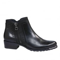 Caprice Womens Black Flat Ankle Boots
