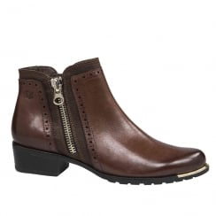 Caprice Womens Cognac Flat Ankle Boots