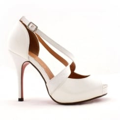 Kate Appleby Teford White Patent Peep Toe Court