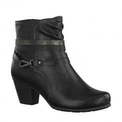 Soft Line Womens Black Ankle Heeled Boots