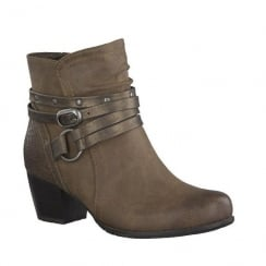 Soft Line Womens Cognac Ankle Strap Detail Heeled Boots