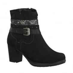 Soft Line Womens Black Suede Ankle Strap Heeled Boots
