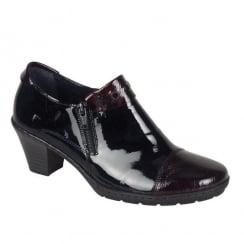 Rieker Womens Black/Burgundy Casual Heeled Shoes