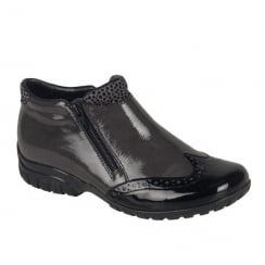 Rieker Womens Black/Grey Patent Casual Flat Boots