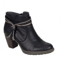 Rieker Womens Black Eagle Ankle Strap Heeled Boots