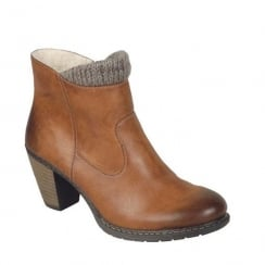 Rieker Womens Tan Eagle Knitted Ankle Heeled Boots