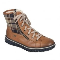 Rieker Womens Tan/Checkered Casual Flat Laced Boots