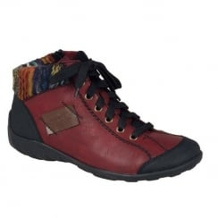 Rieker Womens Black&Red Jura Sporty Ankle Boots