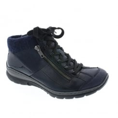 Rieker Womens Navy Wildebuk Flat Sporty Ankle Boots