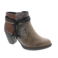 Rieker Womens Brown Eagle Tassel Top Ankle Boots