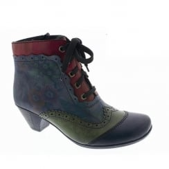 Rieker Womens Navy/Red Eagle Lace up Heeled Ankle Boots