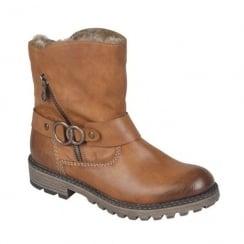 Rieker Womens Eagle Tan Mid Cuff Flat Boots