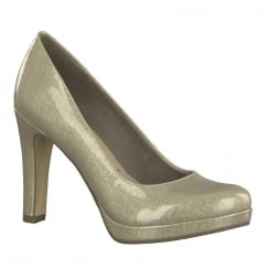Tamaris Womens Beige Metallic Court Heels - 22426