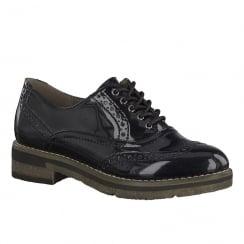Tamaris Womens Black Metallic Derby Shoes - 23616