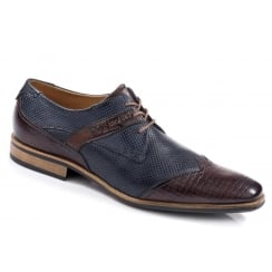 Bugatti Lace Up Shoe - Brown & Navy
