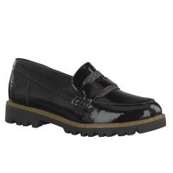 Tamaris Womens Black Slip On Loafer Shoes - 24312