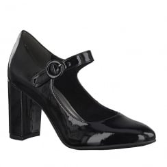 Tamaris Womens Black Patent Court Heels