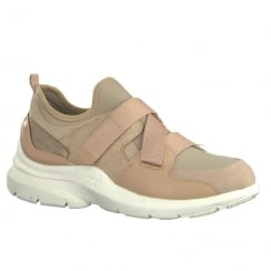 Tamaris Womens Nude Velcro Sneakers Shoes