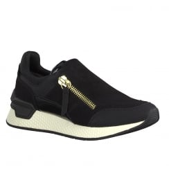 Tamaris Womens Black Faux Suede Sneakers