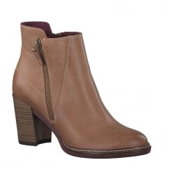 Tamaris Womens Brown Leather Heeled Ankle Boots