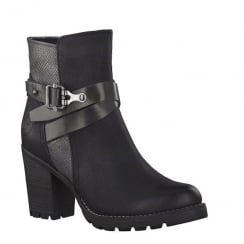 Marco Tozzi Black Chain Detailing High Heel Ankle Boot