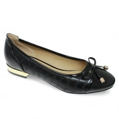 Lunar Palmer Womens Black Snake Effect Pump