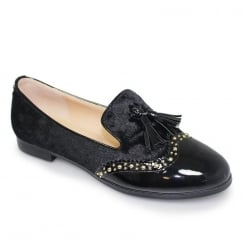 Lunar Felton Womens Black Tassle Brogue Loafers