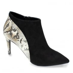 Lunar Lotty Black Suede Snake Print Heeled Ankle Shoe