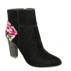 Lunar Jade Black Suede Rose Detail Heeled Fashion Boots