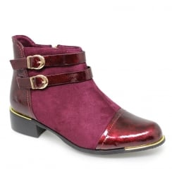 Lunar Milly Burgundy Flat Fashion Ankle Boots