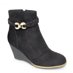 Lunar Bramley Black Wedge Ankle Boots