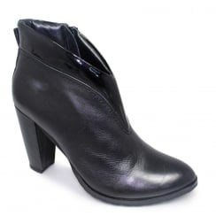 Lunar Pauline Black Heeled Leather Ankle Boots