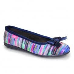 Lunar Womens Twizzle Knit Blue Slipper Pumps
