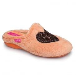Lunar Womens Amor Glitter Orange Slippers