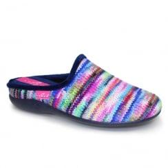 Lunar Womens Sherbet Striped Blue Slippers