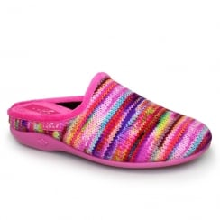 Lunar Womens Sherbet Striped Pink Slippers