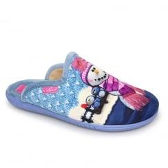 Lunar Womens Snowman II Blue Festive Slippers