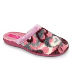 Lunar Womens Dolcetto Pink Heart Mule Slippers