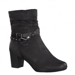 Marco Tozzi Black Antic Mid Block Ankle Buckle Block Boot 25421