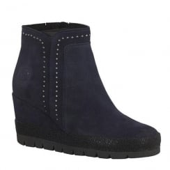 Marco Tozzi Navy Suede Wedge Heeled Ankle Boots