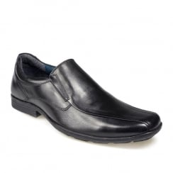 Pod Boys Durham Black Leather Slip On School Shoe