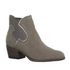 Marco Tozzi Taupe Mid Heel Ankle Boot