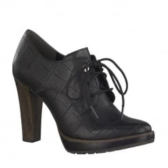 Marco Tozzi Black Ankle Heeled Lace Up